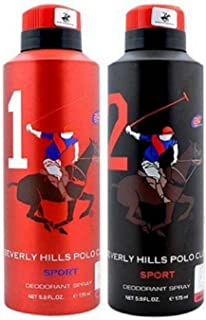Beverly Hills Polo Club Men Deodorant No. 1 & No. 2- Pack Of 2 (175ml Each)