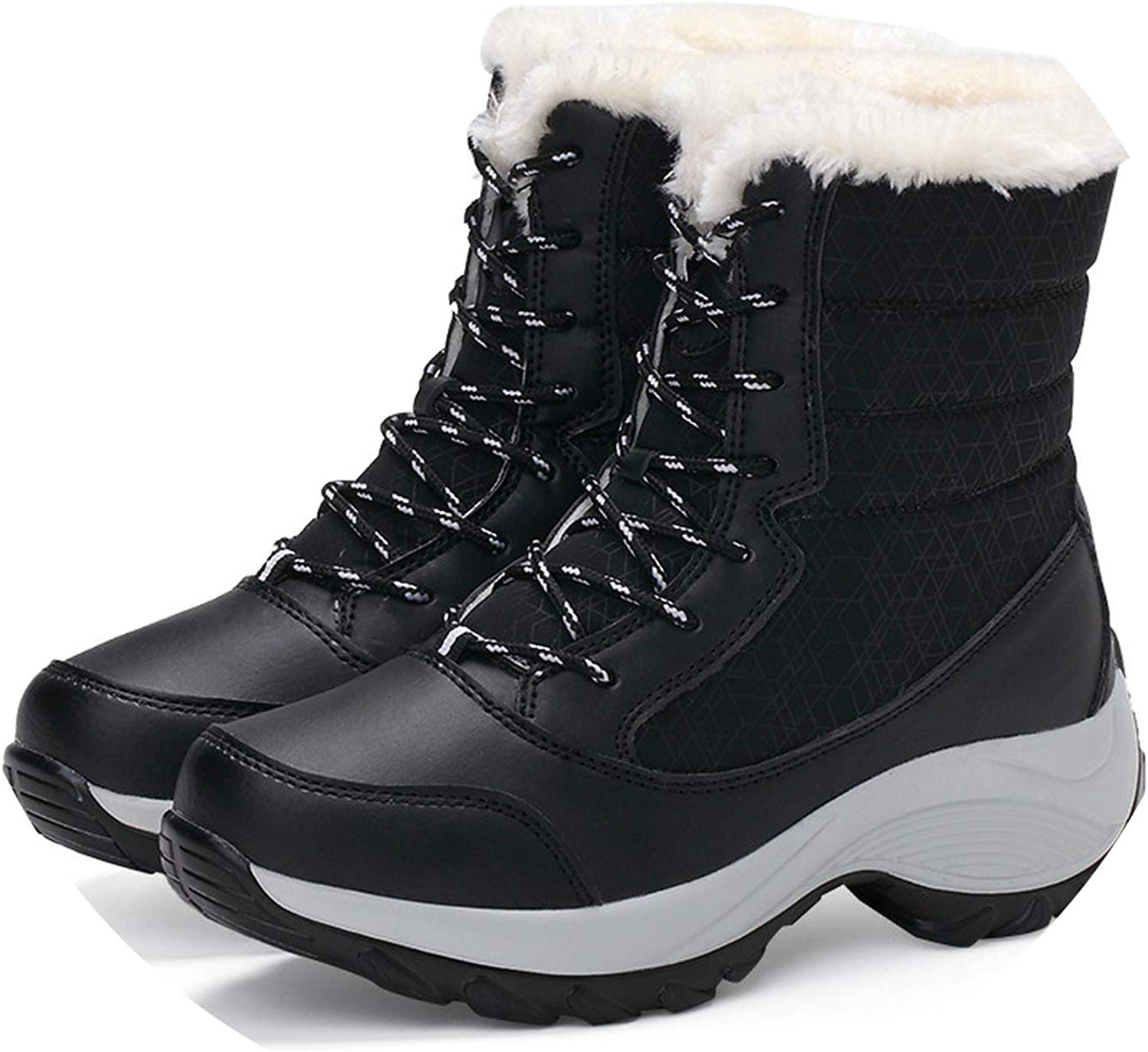 Crazy-Shop Women Boots Keep Warm Women shoes Winter Warm Fur Snow Boots Plush Round Toe Ankle Boots Platform