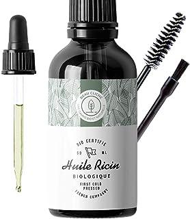 50ml Huile de Ricin Bio, Pressée à froid, Pure - Soin 100% Naturel stimule et fortifie la pousse des cheveux, barbe, cils,...