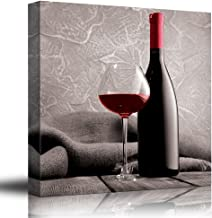 wall26 Romance Series - Black White and red Color pop - Deep red Wine - Cabernet - Merlot - Shiraz - Bottle and Glass - Canvas Art Home Decor - 16x16 inches