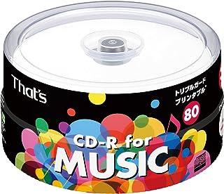 太陽誘電製 That's CD-R音楽用 24倍速80分 ワイドプリンタブル スピンドルケース30枚入 CDRA80WWY30BT