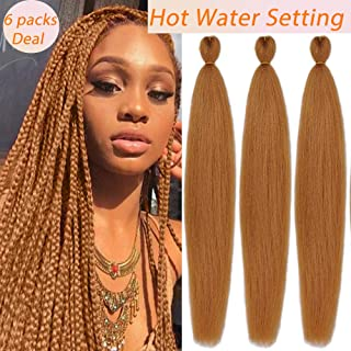 MYCHANSON Pre-stretched Braiding Hair Professional Itch Free Synthetic Fiber Corchet Braids Yaki Texture Hair Extensions EASY Braids 6 packs 26 Inch Light Brown