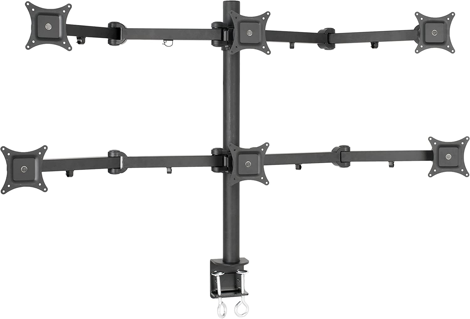 VIVO Hex LCD Monitor Desk Mount Stand Heavy Duty and Fully Adjustable, 6 Screens up to 24 inches, STAND-V006
