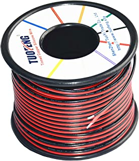TUOFENG 22awg Electrical Wire 100 ft 22 Gauge Led Wire 2 Pin Extension Cable Wire Red Black Wires 12V/24V DC Cable for Led Strips Single Colour