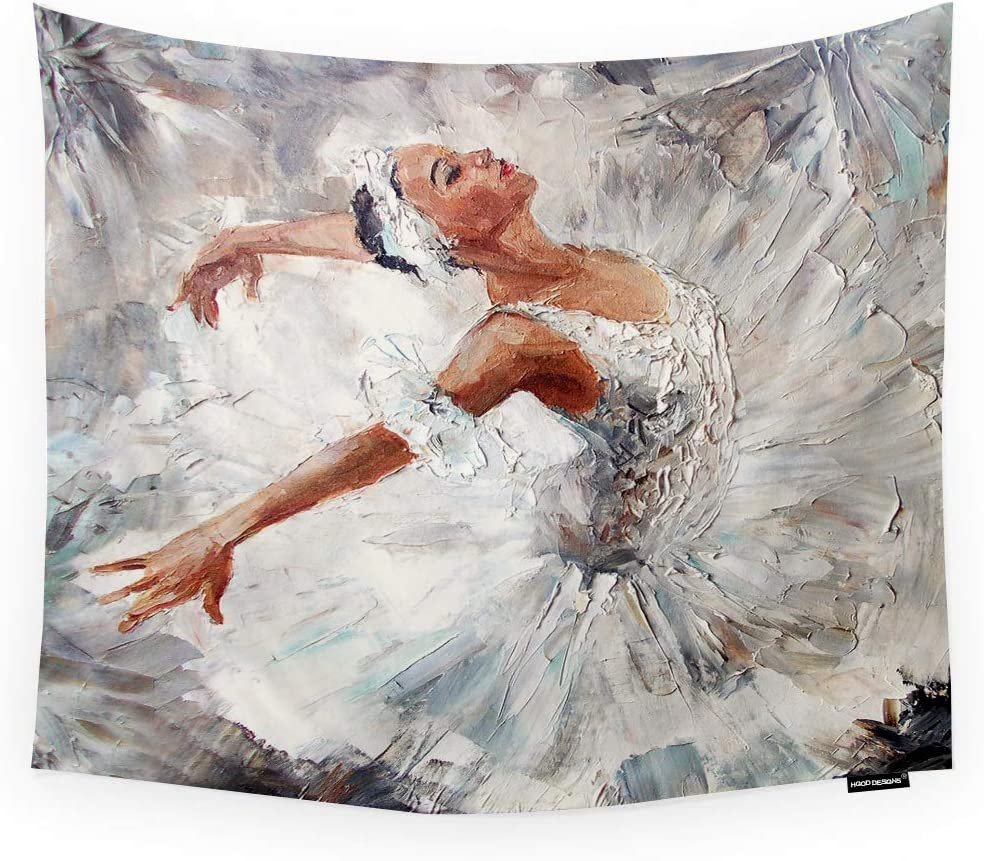 Hgod Designs Dancer Tapestry Wall Hanging White Cute Ballerina Dancing Oil Painting Room Decorative Wall Tapestry For Men Women Girl Boy Polyester 60 X80 Home Kitchen Amazon Com