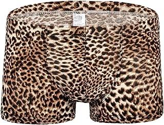 Macondoo Mens Underwear Leopard Print Thin Breathable Boxer Briefs