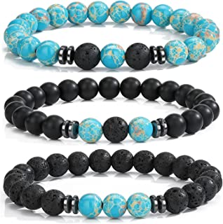 MengPa Mens Beaded Bracelets Matte Lava Rock Volcanic Stone Beads for Women Stretch Bracelet