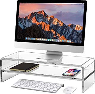 Egchi Acrylic Monitor Stand, 2 Tiers Computer Monitor Riser(20x8x5.5 Inch), Monitor Riser/Computer Stand for Home,Office,B...