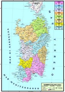 Cartina Geografica Sud Sardegna.Amazon It Cartina Della Sardegna