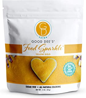 Good Dee's Food Sparkle Yellow Gold - All Natural Coloring & Sugar Free Food Glitter (0 Net Carbs) | Gluten Free Edible Du...