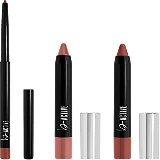 One Click Beauty b.ACTIVE 3-Piece Lip Kit, Longwear Makeup, The Warm Nudes