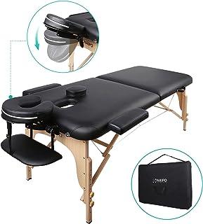 Naipo Table de Massage Pliante Professionnelle Cosmétique Portable Lit table de beauté Canapé Pieds en Bois Hêtre 2 Zones ...