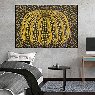 Fenfei Modern Abstract Wall Art Famous Yayoi Kusama Yellow Pumpkin Canvas Painting Wall Pictures for Living Room Cuadros Home Decor 50cm x75cm No Frame