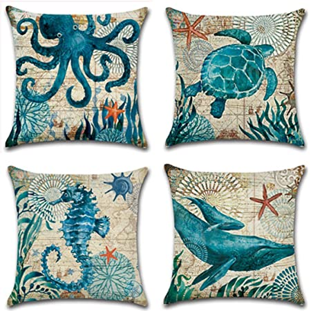 Amazon Com Set Of 4 Ocean Beach Outdoor Throw Pillow Covers Turtle Crab Seahorse Fish Decorative Sea Coastal Theme Decor Cushion Square Pillowcase 18x18 Inch Beach Pillows For Patio Couch Sofa Marine Animals Home