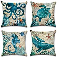 Mediterranean Turtle octopus Whale Seahorse Cotton Linen Cushion Cover Pillow Case Cover Home Chair Couch Outdoor Decor Re...