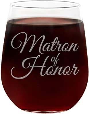 """""""Matron of Honor"""" Large 21 Oz Engraved Stemless Wedding Wine Glass with Gift Box"""