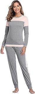 Sykooria Conjunto de Pyiama de algodón para Mujer, Ropa de Dormir de Manga Larga, Pijama Informal de Color en Contraste, R...