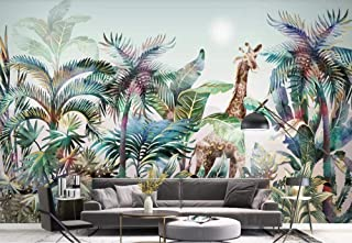 Wallpaper Wallpapers 3D Wallpaper Hand Drawn Tropical Plants Forest Watercolor Giraffe Decorative Wallpaper Kitchen Wallpaper Bathroom Wallpaper Bedroom Living Room Wallpaper