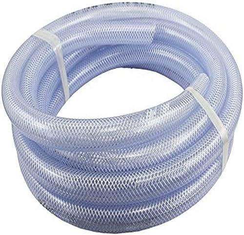 "Duda Energy HPpvc150-010ft 10' x 1-1/2"" ID High Pressure Braided Clear Flexible PVC Tubing Heavy Duty UV Chemical Res..."