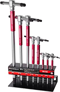 Powerbuilt 8 Pc SAE T-Handle Hex Allen Key Wrench Set with Storage Rack - 941644