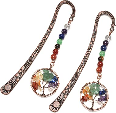 CrystalTears 7 Chakra Crystal Bookmark Vintage Metal Tree of Life Bookmarks for Women Student Teacher Graduation Gift