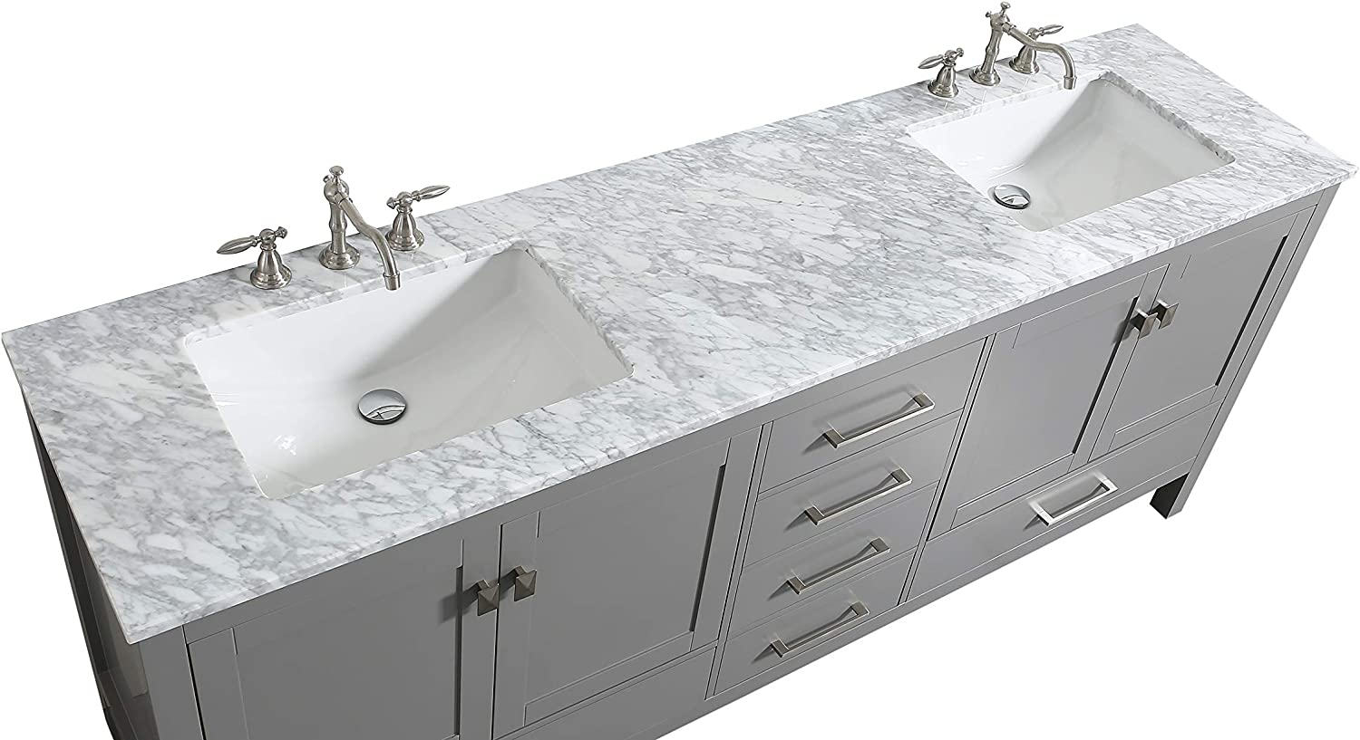 Buy Eviva Aberdeen 84 Inch Gray Transitional Double Sink Bathroom Vanity With White Carrara Marble Countertop And Undermount Porcelain Sinks Online In Indonesia B075zxj963