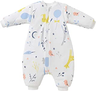 Saco de dormir para bebé con piernas, forro cálido, saco de dormir para invierno, mangas extraíbles, para niños y niñas, unisex, pijama (blanco animal, 18 – 36 meses (altura del bebé 85 – 95 cm)