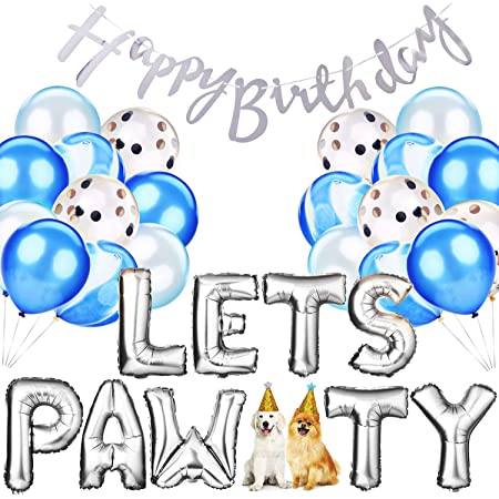 Teabelle Dog Birthday Party Supplies Dog Paw Print Balloons Bone Foil Balloons Lets Pawty Letters DIY Balloon Kit for Party Decorations
