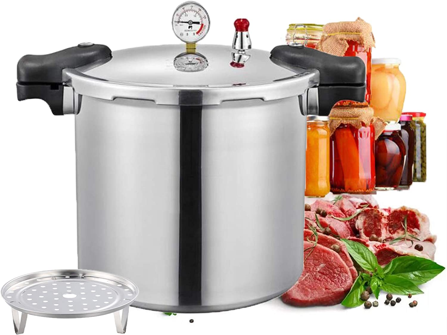 pressure canners for canning,Aluminum canner pressure cookers 25quart Pressure Canner with Pressure Control Explosion-proof safety best pressure cooker Compatible:natural gas,open flame,US.spot goods
