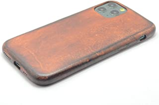 JJNUSA Handmade Genuine Distressed Leather Full Case for iPhone 11 Pro 5.8 inches Flip Cover Case (Old Brown)