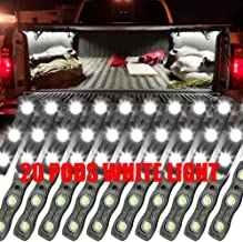 Ampper LED Truck Bed Light Kit, 60 LEDs Cargo Lighting Strips W/Switch Fuse Splitter Cable for Truck Bed, Foot Wells, Under Car, Rail Light and More (2 Strips, 20 Pcs, White)