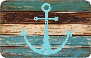 "Best Bathroom Rug, Uphome Vintage Retro Nautical Anchor Flannel Microfiber Foam Bath Mat - Turquoise and Brown Non-Slip Soft Absorbent Bathroom Mat Kitchen Floor Carpet (20"" W x 31"" L) Review"