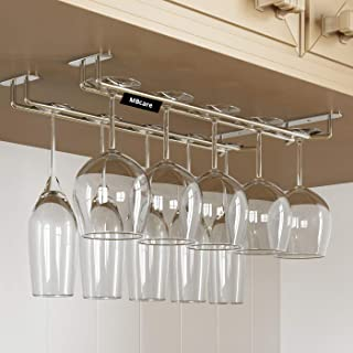 MBCARE Stainless Steel Wine Glass Rack Under Cabinet Wine Glass Holder Upside Down Hanging Organizer for Kitchen, Bar, Hot...