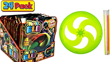 JA-RU Light Up Flying Disc Party Supplies (Pack of 24) Glow in The Dark Colors Frisbee Party Fun for Kids and Adults Favors | Item #87-24