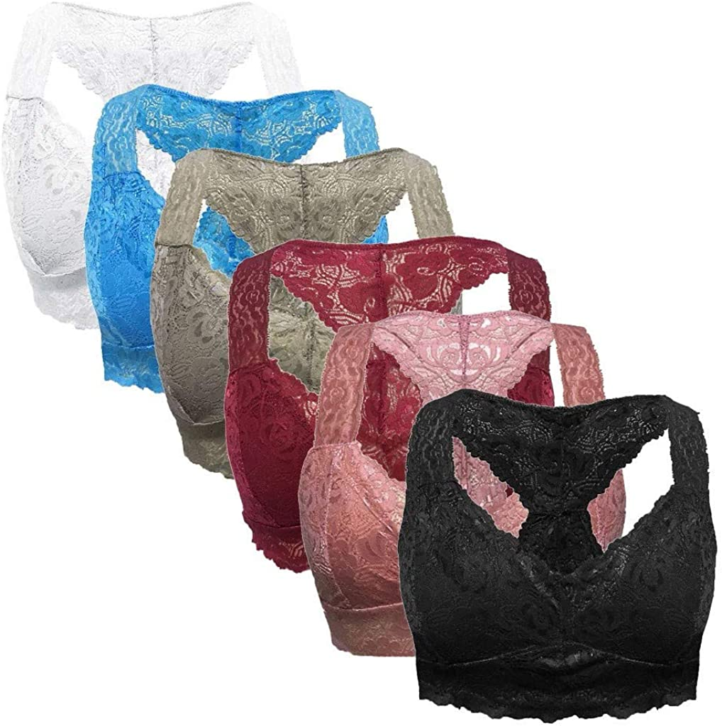 6Pcs Bras for Women Lace Bralette Comfort Wireless Bra Workout Sports Bra Low-Impact Activity Sleep Bras