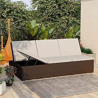 Benkeg Tumbona Convertible con Cojín de Ratán Sintético Marrón, Tumbonas Jardin Exterior Tumbona de Sol Tumbona de Exterior para Jardín, Patio, Porche o Piscina