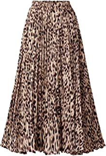 Womens Leopard Maxi Skirt Boho Pleated High Waist Flowy Long Skirt