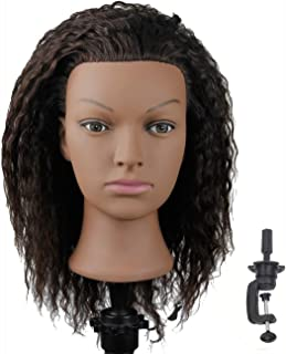 African American Mannequin Head with 100% Human Hair Manikin Head with Stand for Styling Hair Blowing Hair Cutting Braiding (Afro Kinky Straight)