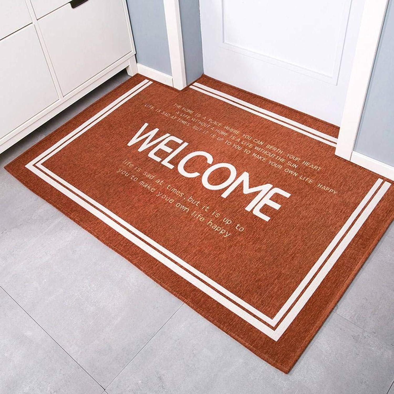 Chenille Doormat, Modern Minimalism Hall Entrance Living Room Entering The Door Non-Slip Floor Mat-orange-80x100Cm(31x39Inch)