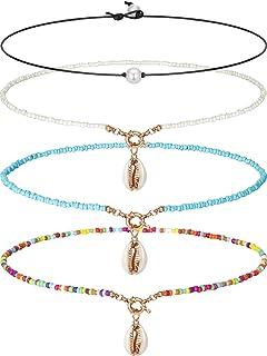 Blulu Gargantilla Collar con Sola Perla Collar con 3 Perlas Choker con Sola Gema/Turquesa y Collar con Turquesa Azul en Cu...