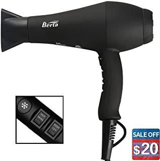 1875w Professional Hair Dryer with Concentrator nozzle Infrared Heat Negative Ionic Hair Blow Dryer Cool shot button 2 Speed and 3 Heat Settings (04X)