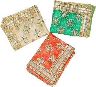 Aditri Creation Set of 3 Chunari Green Orange & Golden Size 12X18