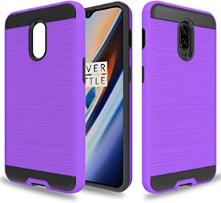 Wtiaw for:One Plus 6T Case,OnePlus 6T McLaren Case,OnePlus 6T Phone Cases,[TPU+PC Material] [Brushed Metal Texture] Hybrid Dual Layer Defender Case for One Plus 6T-CL Purple