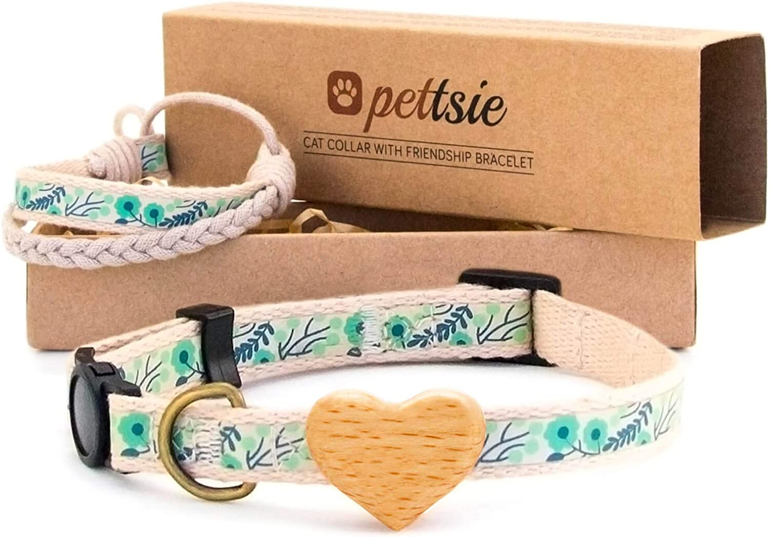 Pettsie Cat Collar Breakaway Safety with Heart and Friendship Bracelet for You, Natural and Soft 100% Cotton for Extra Comfort, Strong and Durable, Easy Adjustable Size 811 Inch (Green)