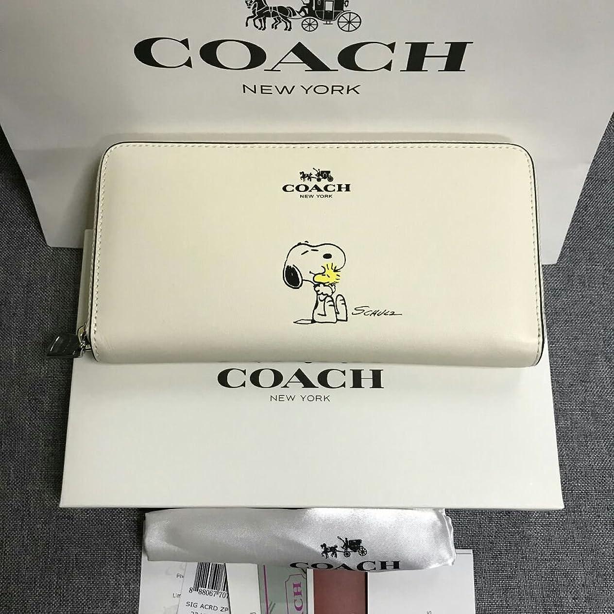 くすぐったい予測アノイ新品 COACH コーチ 長財布 F53773 スヌーピー SNOOPY ラウンドファスナー レディース ホワイト 白
