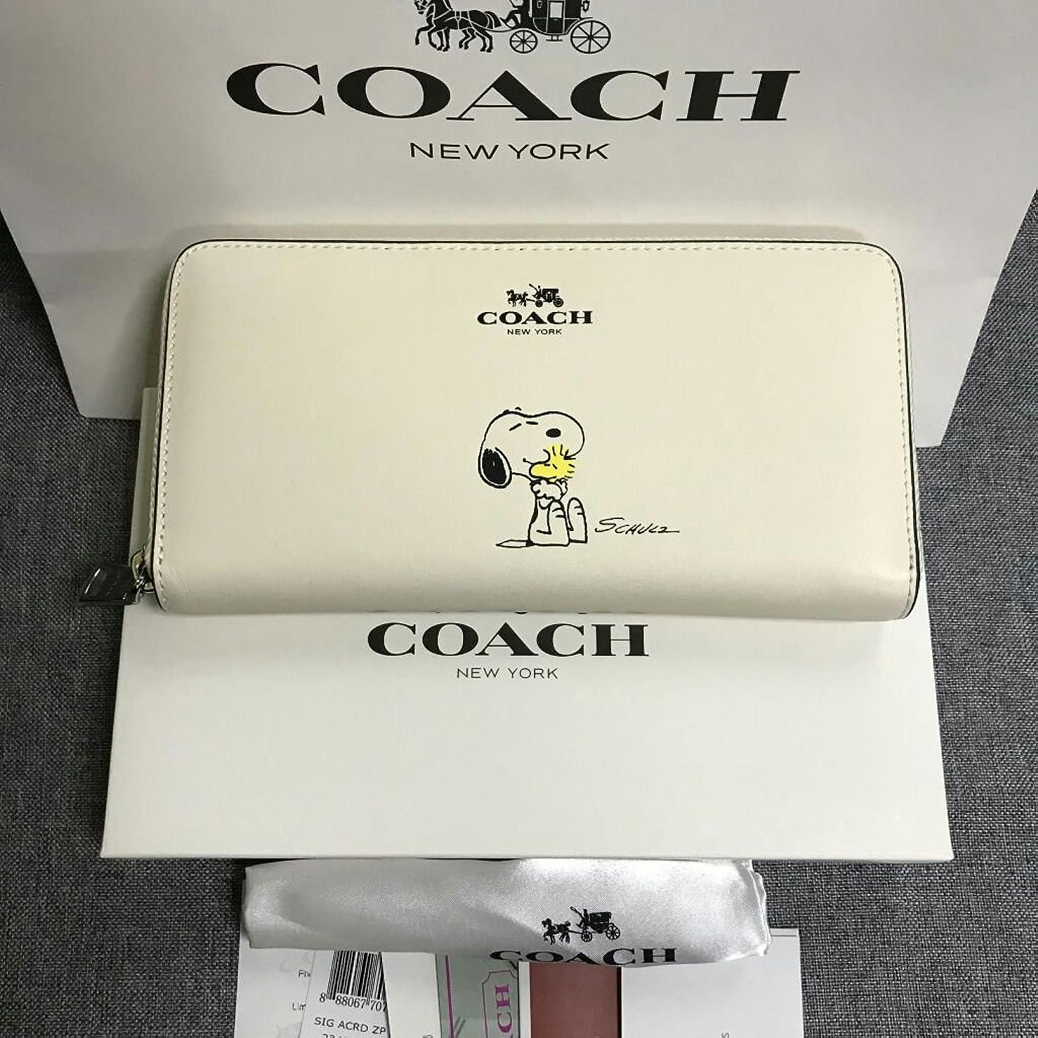 繊細猟犬スリット新品 COACH コーチ 長財布 F53773 スヌーピー SNOOPY ラウンドファスナー レディース ホワイト 白