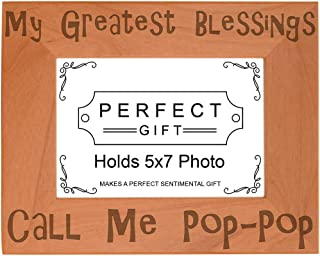 ThisWear Blessings Call Me Pop-Pop Natural Wood Engraved 5x7 Landscape Picture Frame Wood