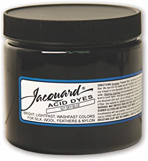 Jacquard Acid Dye for Wool, Silk and Other Protein Fibers, 8 Ounce Jar, Concentrated Powder, Sky Blue 621