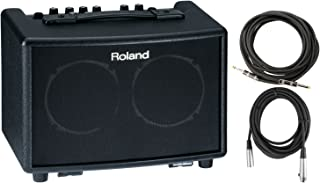 Roland AC 33 BK Battery Powered Acoustic Chorus Amp w/ Instrument Cable and XLR Cable