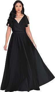 KOH KOH Womens Long V-Neck Ruffle Sleeveless Bridesmaid Prom Gown Maxi Dress